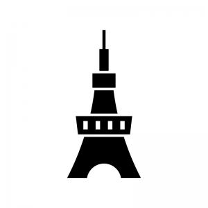 タワー・テレビ塔の白黒シルエットイラスト