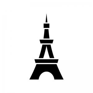タワー・テレビ塔の白黒シルエットイラスト02