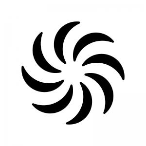 台風マークの白黒シルエットイラスト