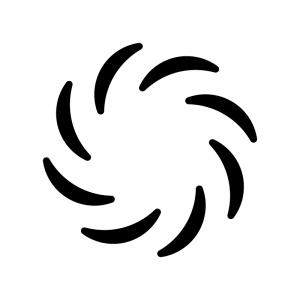 台風マークの白黒シルエットイラスト02