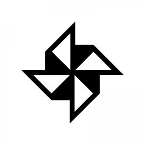 風車の白黒シルエットイラスト