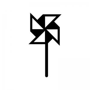 風車の白黒シルエットイラスト02