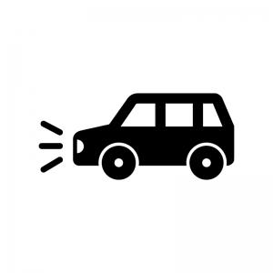 ライト点灯の自動車の白黒シルエットイラスト