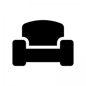 一人掛けソファの白黒シルエットイラスト