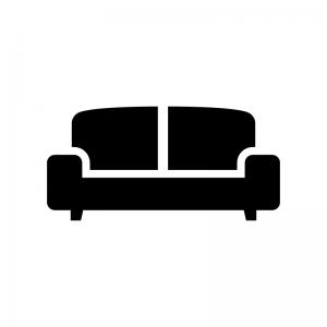 二人掛けソファの白黒シルエットイラスト