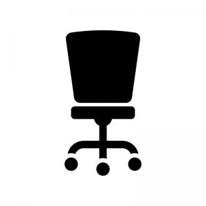 事務椅子の白黒シルエットイラスト