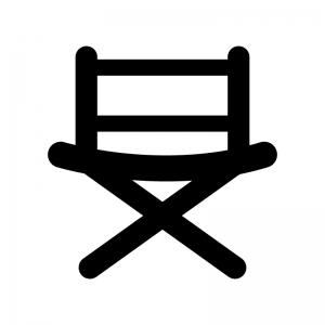 ディレクターズチェアの白黒シルエットイラスト