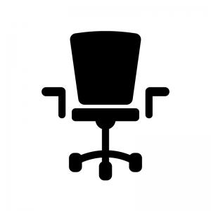デスクチェアーの白黒シルエットイラスト02