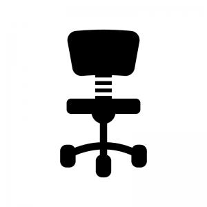 事務椅子の白黒シルエットイラスト03