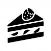苺のショートケーキの白黒シルエットイラスト02