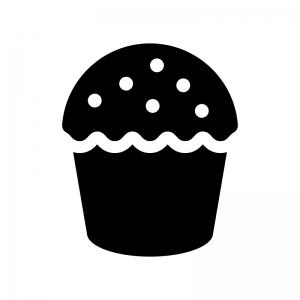 カップケーキの白黒シルエットイラスト