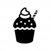 クリーム付きカップケーキの白黒シルエットイラスト