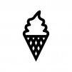 ソフトクリームの白黒シルエットイラスト02
