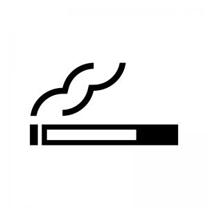 タバコのマークの白黒シルエットイラスト
