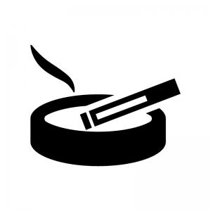 タバコと灰皿の白黒シルエットイラスト