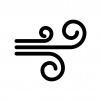 突風・強風の白黒シルエットイラスト02