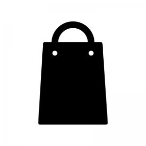 買い物袋の白黒シルエットイラスト