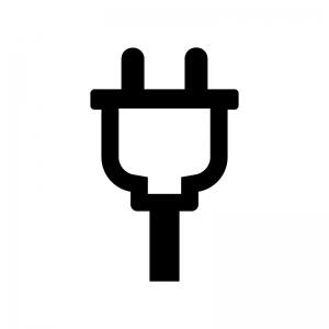 コンセントプラグの白黒シルエットイラスト04