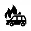 車の火災の白黒シルエットイラスト