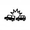 自動車の追突事故の白黒シルエットイラスト