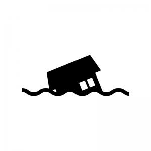 水害で流された家の白黒シルエットイラスト