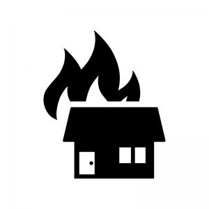 火事で燃えている家の白黒シルエットイラスト