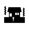 地震で揺れている家の白黒シルエットイラスト