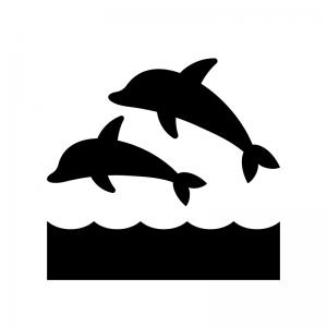 海とイルカの白黒シルエットイラスト