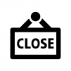お店クローズの看板の白黒シルエットイラスト02