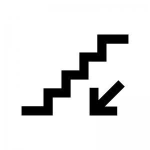 下り階段の白黒シルエットイラスト