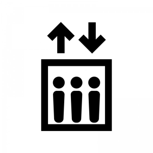 エレベーターの白黒シルエットイラスト