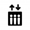 エレベーターの白黒シルエットイラスト02