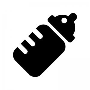 哺乳びんの白黒シルエットイラスト02