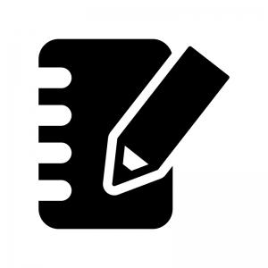 手帳とペンの白黒シルエットイラスト