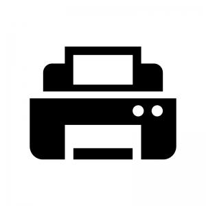 複合機・プリンターの白黒シルエットイラスト
