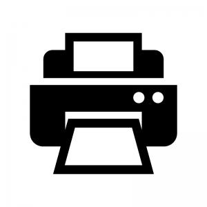 複合機・プリンターの白黒シルエットイラスト02