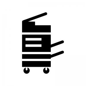 OA機器・レーザープリンターの白黒シルエットイラスト