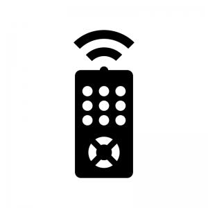 テレビリモコンの白黒シルエットイラスト02