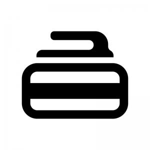 カーリングの白黒シルエットイラスト02