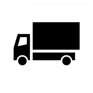 トラックの白黒シルエットイラスト