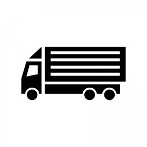 大型トラックの白黒シルエットイラスト