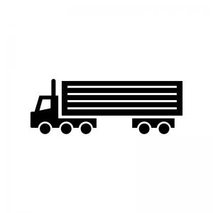 大型トレーラーの白黒シルエットイラスト
