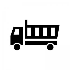 ダンプカーの白黒シルエットイラスト