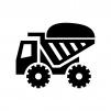 土砂を運ぶ大型ダンプカーの白黒シルエットイラスト02