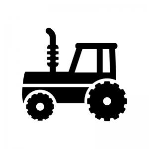トラクターの白黒シルエットイラスト