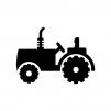 トラクターの白黒シルエットイラスト02