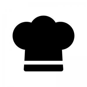 コック帽子の白黒シルエットイラスト04