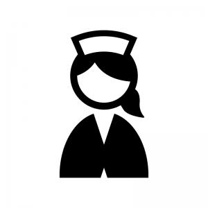 看護師・ナースの白黒シルエットイラスト02