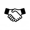 握手の白黒シルエットイラスト