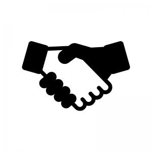 握手の白黒シルエットイラスト02